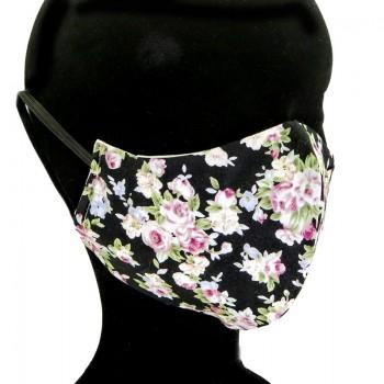 Mascarilla Adulto Negra Flores Rosas