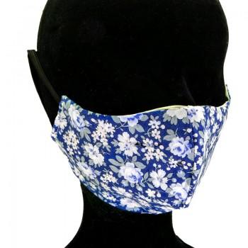 Mascarilla Adulto Azul con Flores