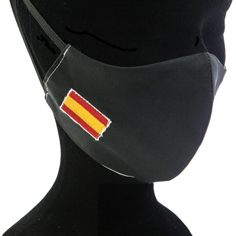 Mascarilla Adulto Negra con Bandera de España