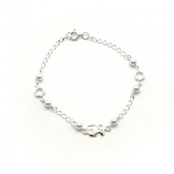Pulsera Plata de Ley Bear and Flower