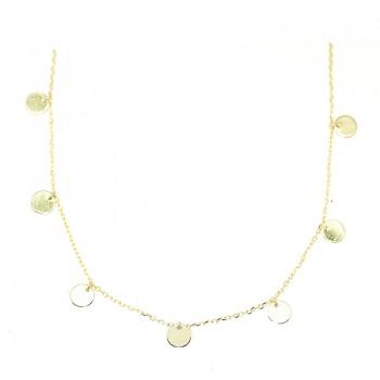 Gargantilla de Cadena en Plata de Ley con Medallitas Colgantes Baño Oro