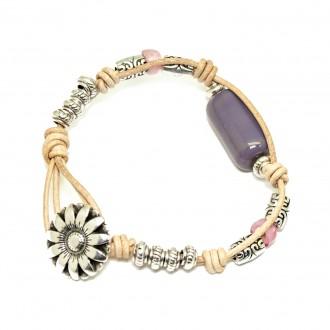 Pulsera de Cuero Flor Potxola Violeta