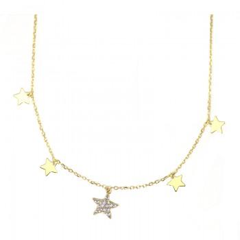 Gargantilla Plata de Ley 5 Estrellas con Circonitas Chapado Oro
