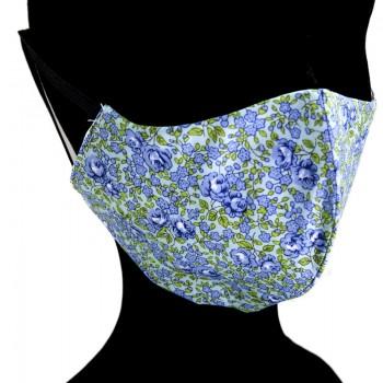 Mascarilla Adulto Flores Verdes y Azules