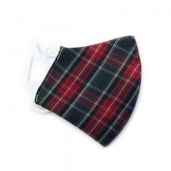 Mascarilla Infantil Estampado Escocés Rojo