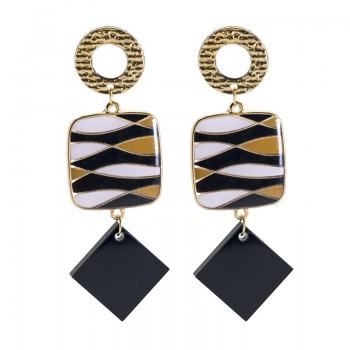 Pendientes Mosaico Black & Gold