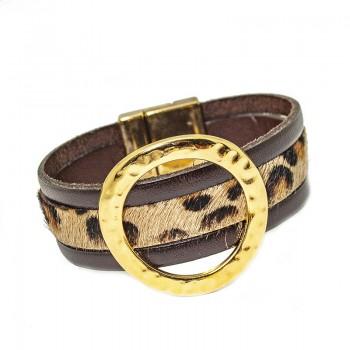 Pulsera de Cuero Kenia Gold Leopard Skin
