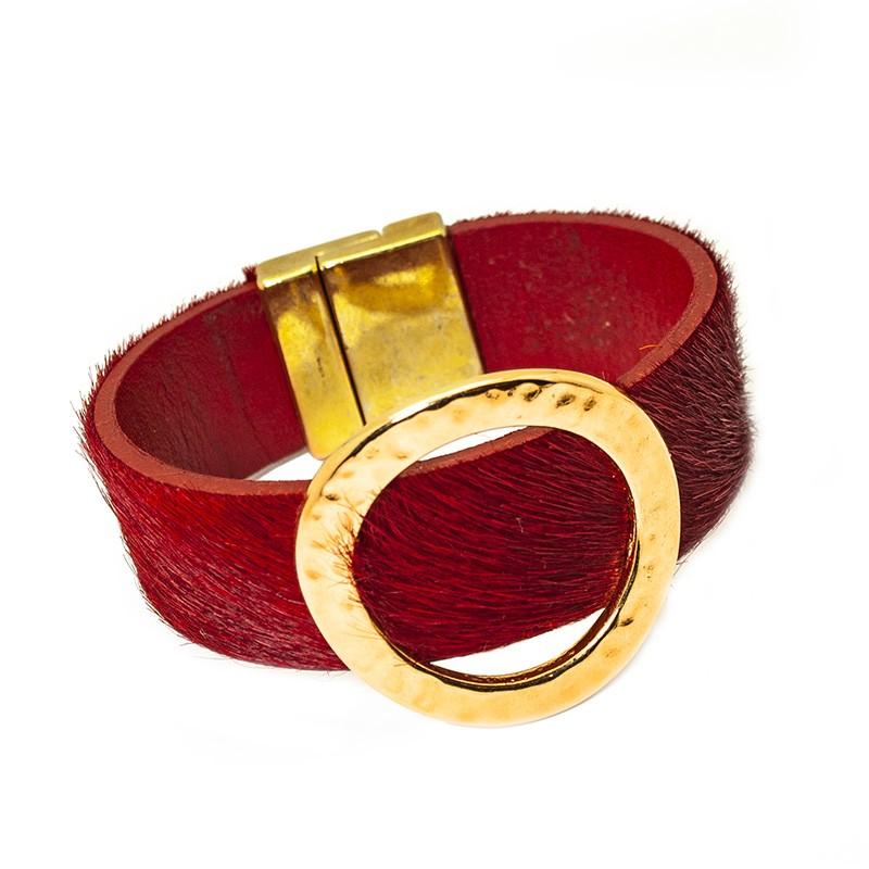 Pulsera de Cuero Kenia Gold Red Velvet