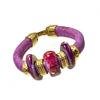 Pulsera Regaliz Purpurina Gold & Ceramics violeta