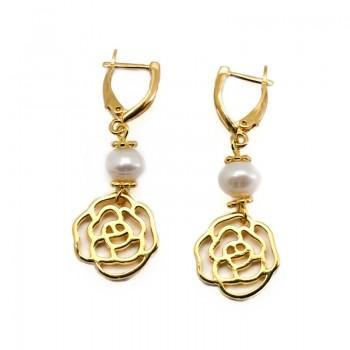 Pendientes Perla Cultivada con Flor Oro