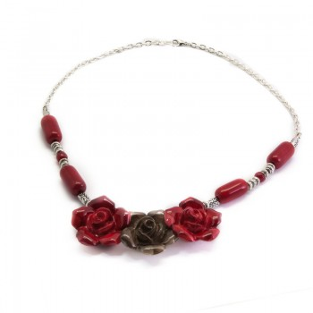 Collar Flores Rosas y...