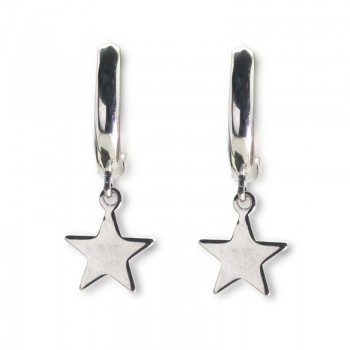 Pendientes de Plata de Ley Aro Liso con Colgante de Estrella