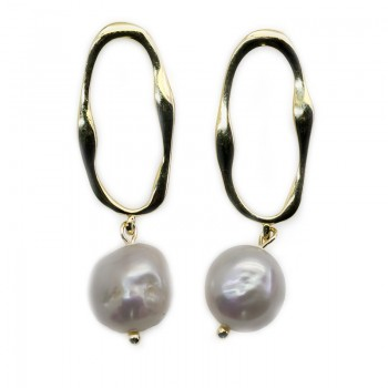 Pendientes Plata de Ley Baño Oro 24k Ovalo Irregular con Perla Cultivada