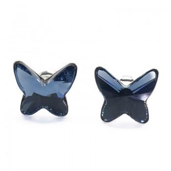 Pendientes Plata de Ley Swarovski Butterfly Denim Blue