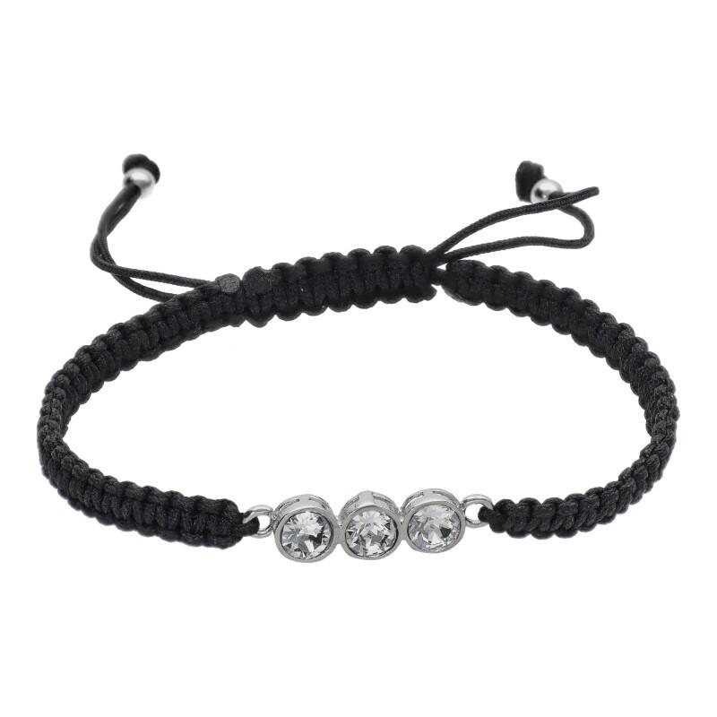 Pulsera Hilo Seda Negro de Plata de Ley con 3 Brillantes de Cristal
