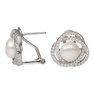 Pendientes Plata de Ley Omega Lazos Brillantes con Perla Natural