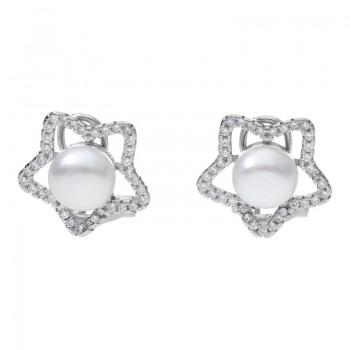 Pendientes de Plata de Ley Omega Estrella con Perla Natural