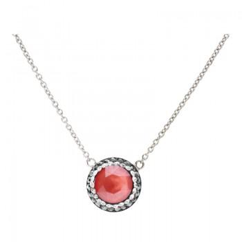 Collar de Plata de Ley con Cadena Round Diamond