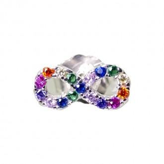 Pendientes Plata de Ley Infinito con Circonitas Multicolor