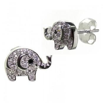 Pendiente Plata de Ley Elefante de la Suerte con Brillantes
