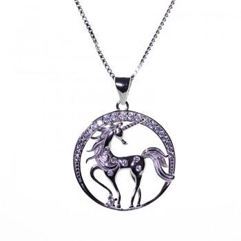Gargantilla con Colgante Unicornio de Plata de Ley con Circonitas
