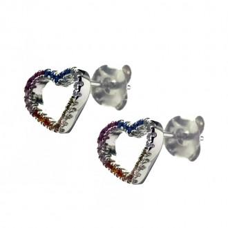 Pendientes Plata de Ley Corazón con Circonitas Multicolor