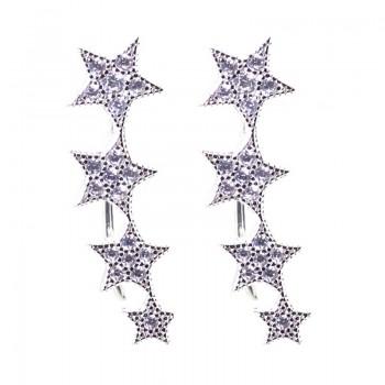 Pendientes Plata de Ley Trepadores Estrella Fugaz