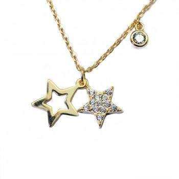 Colgante Plata de Ley Estrellas con Circonitas Chapado Oro