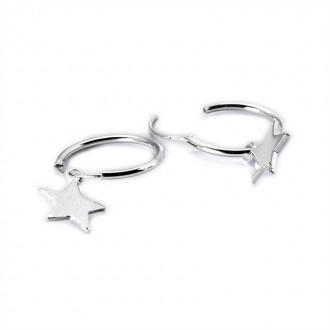 Aros de Plata de Ley con Estrella Colgante