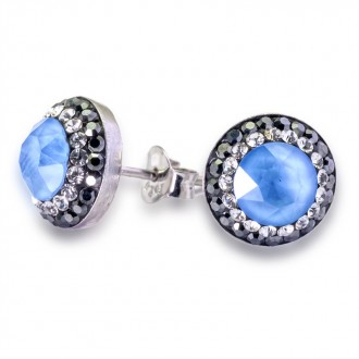 Pendientes de Plata de Ley Swarovski Round Crystal Powder Blue