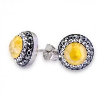 Pendientes de Plata de Ley Swarovski Round Crystal Powder Yellow