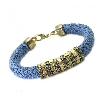Pulsera con Cordón Trenzado Azul y Aros Tallados Oro Viejo y Dorado
