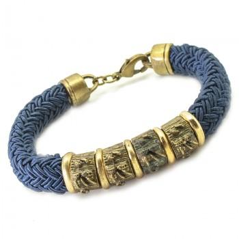 Pulsera Cordón Seda Azul con Piezas Oro Viejo