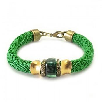 Pulsera Cordón Seda Verde Gold Esmerald