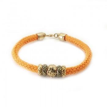Pulsera Cordón Seda Naranja con Aros Dorados