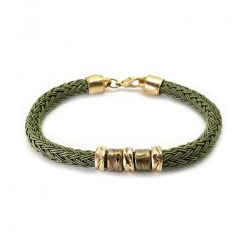 Pulsera Cordón Seda Verde Musgo con Aros Oro y Oro Viejo