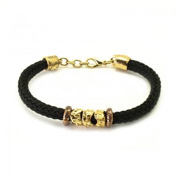Pulsera Cordón Seda Negro con Aros Tallados Baño Oro