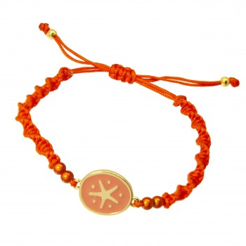 Pulsera Estrella de Mar Rosa y Baño Oro