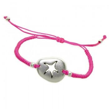Pulsera Hilo Seda Rosa con Estrella de Mar Irregular