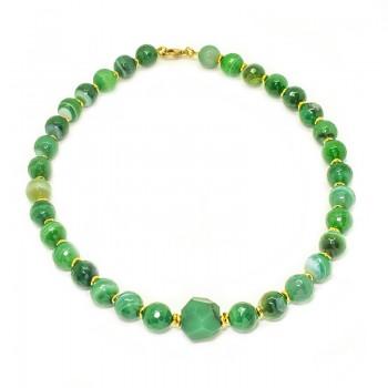 Collar de Agatas Bandeadas Verde Esmeralda