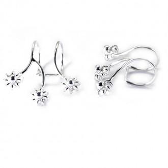 Pendientes Plata de Ley de Cartílago con 3 Flores