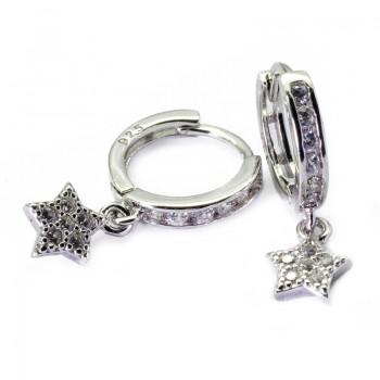 Pendientes Aros Colgantes Estrellas con Circonitas