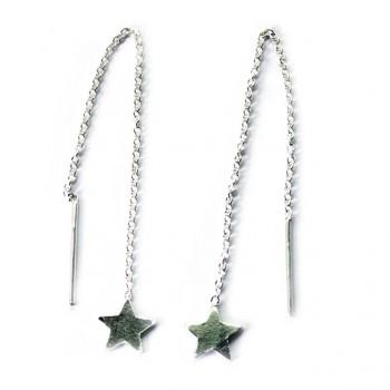 Pendientes Plata de Ley Estrella con Cadena y Agujón