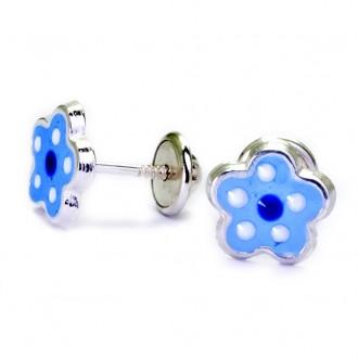 Pendientes Plata de Ley Flores de Primavera Azul