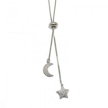 Gargantilla de Plata de Ley Luna y Estrella Brillante