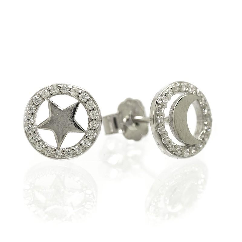 Pendientes Plata de Ley Luna y Estrella con Circonitas