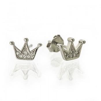 Pendientes Plata de Ley Corona de Princesa con Circonitas