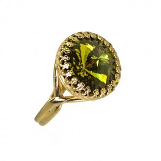 Anillo Pincess Baño de Oro con Cristal Swarovski Olivine