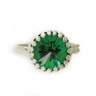 Anillo Little Princess Baño de Plata con Cristal Swarovski Emerald