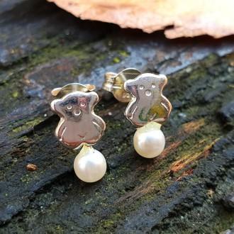 Pendientes Plata de Ley Osos con Perlas Naturales